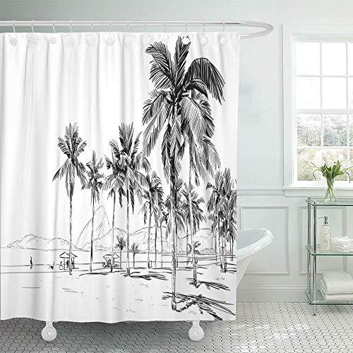 Starolal Shower Curtain Waterproof Decorative Bathroom 72 x 72 inches Drawing Copacabana Beach Rio De Janeiro Brazil City Sketch Summer View People Ocean Polyester Fabric Set with Hooks