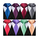 """Barry.Wang 8 Pack Men's Solid Ties Silk Woven Neckties Bussiness,Party,Wedding(59""""3.35""""),Must-have Tie for Successful Men"""