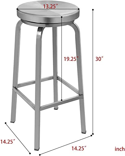 IRICA Stainless Steel Swivel Round Seat Backless Bar Hgt Stool, Satin Brushed Finish, 30 inches Seat Hgt, Commercial Quality, Indoor Porch Use, 1 Pack