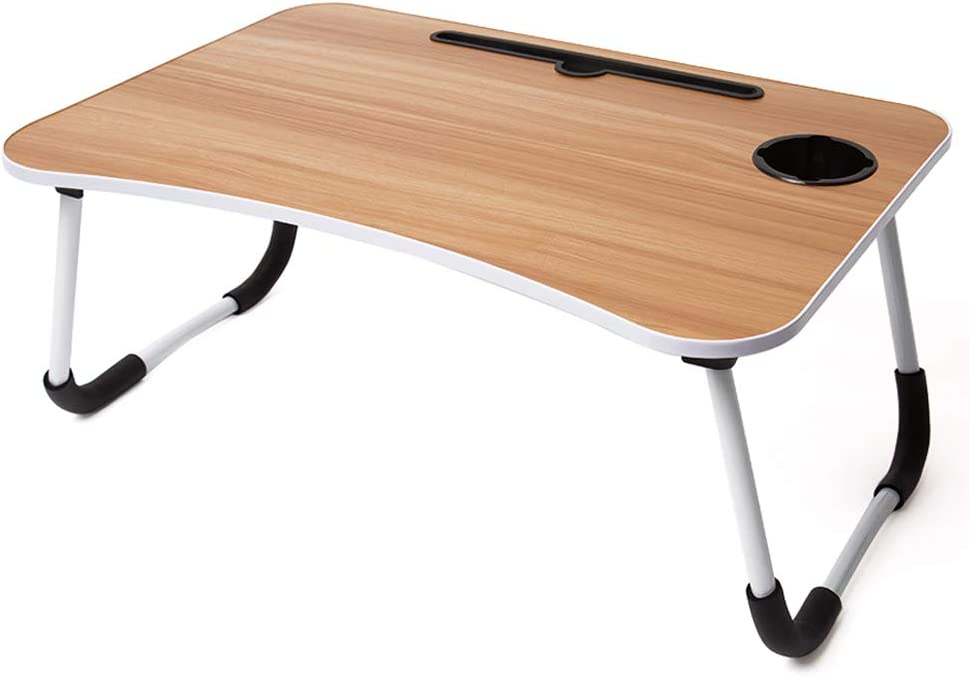 Foldable Laptop Lap Desk, Portable Computer Bed Table Tray with Phone Stand and Cup Holder for Sofa Couch Breakfast Dining (Wood Grain)