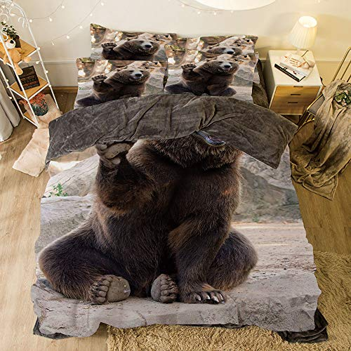 All Season Flannel Bedding Duvet Covers Sets for Girl Boy Kids 4-Piece Full for Bed Width 6.6ft Pattern by,Bear,Friendly Animal Sitting and Waving a Paw in The Zoo Cute Funny Wild Mammal Gesture Dec