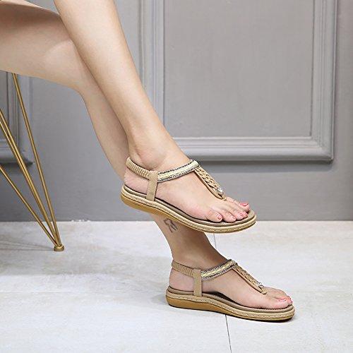 af345f33ea5 Meeshine Womens Summer Beach Flat Sandals Rhinestone Shiny Beads Slip On Flip  Flops Thong Shoes