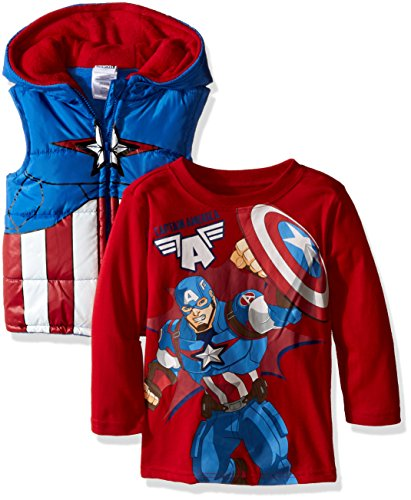 Toddler Captain America Costumes Hoodie (Marvel Little Boys' Toddler 2 Piece Captain America T-Shirt and Costume Hooded Vest, Red, 2T)