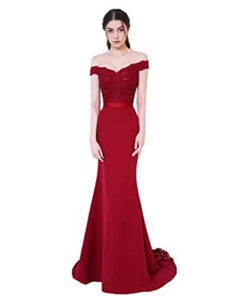 XSWPL Womens Off the Shoulder Appliques Mermaid Prom Gowns Formal Evening Party Dress Red US2