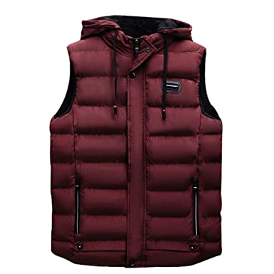 e98b01d5ee436b TianBin Herren Weste Steppweste mit Kapuze Outdoor Warm Hoodie  Übergangsjacke Einfarbig (Dunkel Rot, Asia