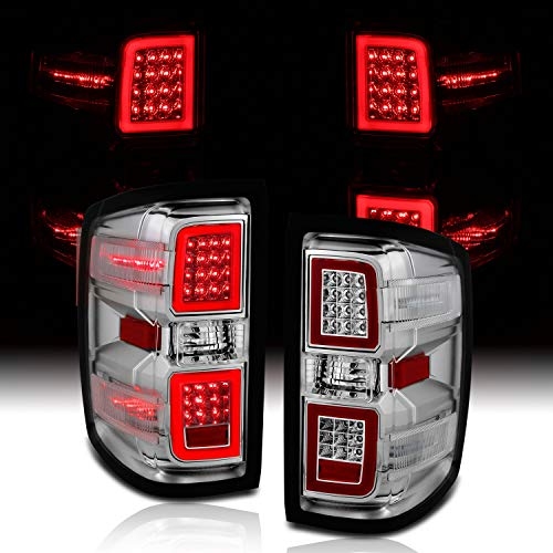 AmeriLite for 2014-2018 Chevy Silverado 1500 2500 3500 GMC Sierra Crystal Clear Chrome LED Taillights Brake Lamp Pair - Driver and Passenger Side