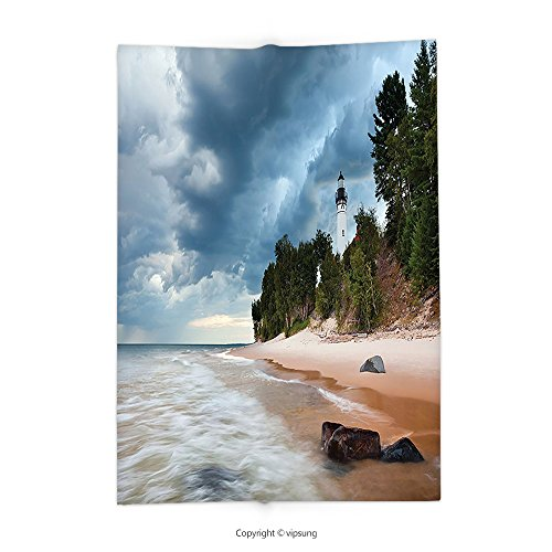 Custom printed Throw Blanket with Lighthouse Decor Collection Au Sable Lighthouse in Pictured Rock National Lakeshore Michigan USA Picture Cloudy Blue Ivoy Super soft and Cozy Fleece (Halloween Usa Michigan Ave)
