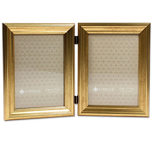 5x7 Hinged double Sutter Burnished Gold Picture - Frame Gold Double