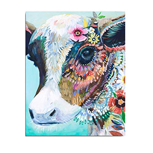 WO-STAR Decorative Canvas Painting Abstract Art Hand Painted Oil Painting Cow Poster Wall Pictures Decoration Home Decor Animal Paints (No Frame,24x28 inch) - Art Deco Place Knife