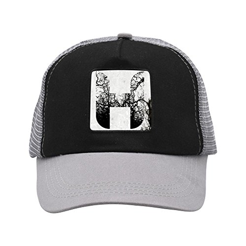CAHAFun Unisex Adults Initial Name Letter H Snap Back Trucker Hat Mesh Cap