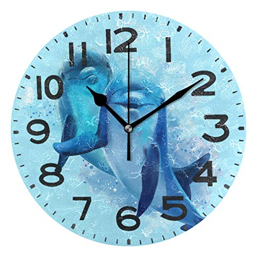 Naanle Cute Underwater Dolphins Splashed Print Round Wall Clock Decorative, 9.5 Inch Battery Operated Quartz Analog Quiet Desk Clock for Home,Office,School(Blue)