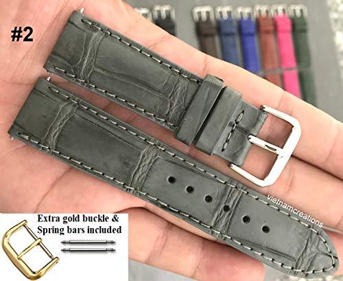 18mmGenuine CROCODILE/ALLIGATOR Skin Leather Watch Strap Band for men Handmade (18mm, 02 Grey)