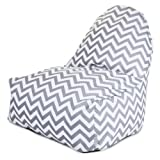 Majestic Home Goods Kick-It Chair, Chevron, Gray