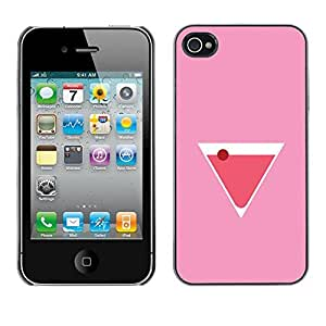 Colorful Printed Hard Protective Back Case Cover Shell Skin for Apple iPhone 4 / iPhone 4S / 4S ( Martini Cocktail Drink Liquor Pink )