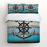 Libaoge 4 Piece Bed Sheets Set, Nautical Anchor Rudder with Rustic Old Barn Wood Print, 1 Flat Sheet 1 Duvet Cover and 2 Pillow Cases