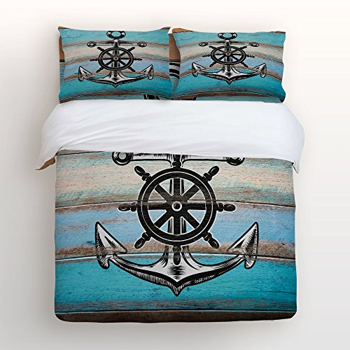 Conversion 86 Set (Libaoge 4 Piece Bed Sheets Set, Nautical Anchor Rudder with Rustic Old Barn Wood Print, 1 Flat Sheet 1 Duvet Cover and 2 Pillow Cases)