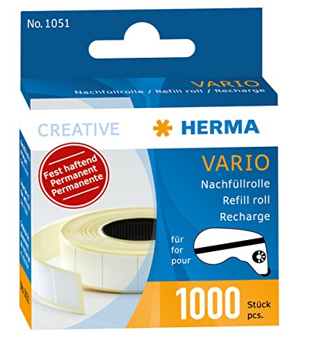 Double Sided Tab Dispenser - Herma Vario Refill Pack Permanent 1000 Paper Stickers (1051)