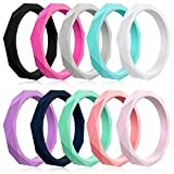Mokani 10 Packs Silicone Wedding Ring for Women, Thin Diamond Rubber Band, Fashion, Colorful, Comfortable fit, Skin Safe