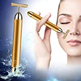 24k Facial-Massagerl-Beautyl-Bar Golden Pulse Facial Massager, T Shape Gold Stick, Facial Roller Massager Face Lift Firming, Skincare Anti-Wrinkle Treatment, Skin Tightening, Eliminate Dark Circles