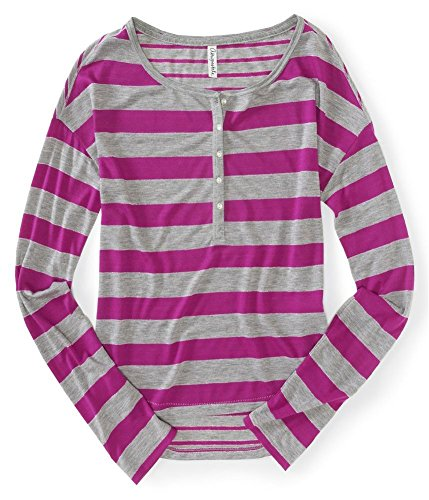 Aeropostale Womens Stripe Henley Shirt 689 Xl