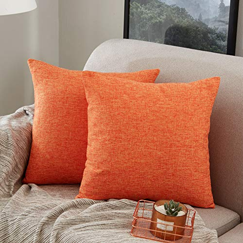 MERNETTE Pack of 2, Cotton Linen Blend Decorative Throw Pillow Cover Cushion Covers, Pillowcase Pillow Shams, Pillows Shells, for Sofa Bedroom Car Chair 18x18 Inch/45x45 cm (Orange)