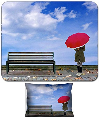Liili Mouse Wrist Rest and Small Mousepad Set, 2pc Wrist Support IMAGE ID: 23134272 Surrealistic scene showing a young thin woman dressed with a coat and breeches cover his face with a red umb ()
