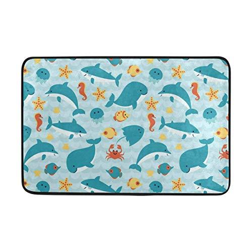 DSCuhsh Doormat Decor Shark Vs Whale Art Designer Non Slip Door Mat for Indoor/Outdoor Washable Garden Office 24 x16 Inch / 40 X 60cm ()
