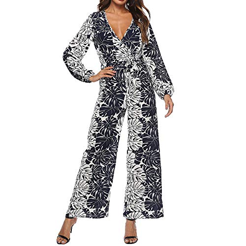 Morecome, Women Simple Ladies Autumn Long Sleeve Printed Loose Long Playsuits Rompers Jumpsuit