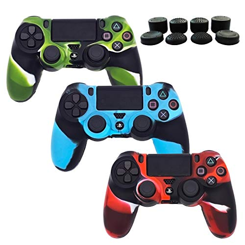 (BRHE PS4 Controller Silicone Cover Skins, 3 Pack DualShock 4 Protector Case Accessories Set for Sony Playstation 4/PS4 Slim/PS4 Pro Wireless/Wired Gamepad Joystick with 8 FPS Thumb Grips Caps)