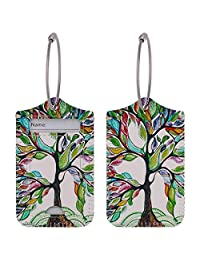 WALNEW Travel Luggage Tags - Suitcase Label Baggage Case Handbag Tags with Stainless Steel Ring Lock (Set of 2 Tags, Lucky Trees)