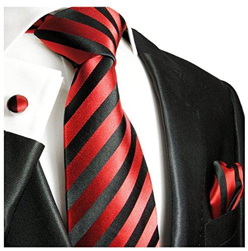 Paul Malone Necktie, Pocket Square and Cufflinks 100% Silk Red Black