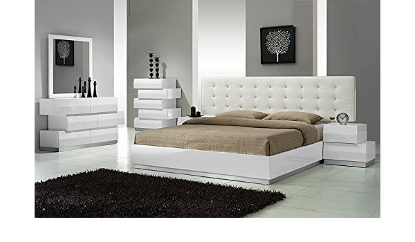 Amazon.com: Modern Spain 4 Piece Bedroom Set Eastern King Size Bed ...