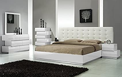 Modern Spain 4 Piece Bedroom Set Eastern King Size Bed Mirror Dresser  Nightstand White Lacquer Headboard