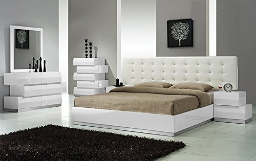 Modern Spain 4 Piece Bedroom Set California King Size Bed Mirror Dresser Nightstand White Lacquer Headboard With Leather Like Exterior & Like Crystals Bedroom Furniture California King Set Dresser