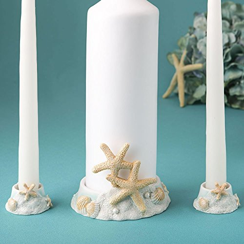 (Fashioncraft, Beach Wedding Decoration, Ceremony Unity Candle Holder, Starfish Seashell Nautical Theme, Polyresin, Sand White and Sea Blue)