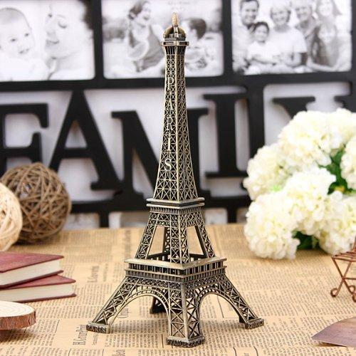 Bronze Tone Paris Eiffel Tower Figurine Statue Vintage Model Decor Alloy 13cm -