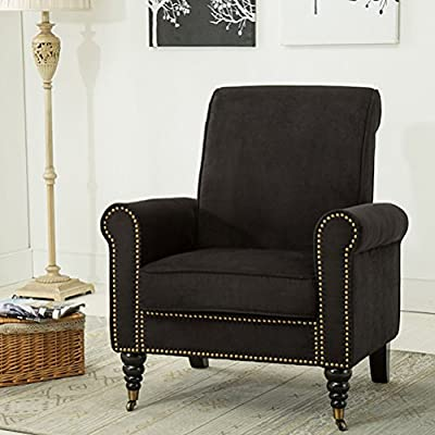 Classic Living Room Chairs Nailhead Trim Club Chairs Fabric Accent Chairs (Black) - Upholstered sponge,human design,comfortable touch for your head,back,butt,and leg. Neutral in color and versatile enough to be placed in anywhere you need:bedroom,living room,reading room,restaurant,hotel,Cofe etc Contemporary inspired and transitional stled design elements for an elegant look. - living-room-furniture, living-room, accent-chairs - 51CT066VjTL. SS400  -
