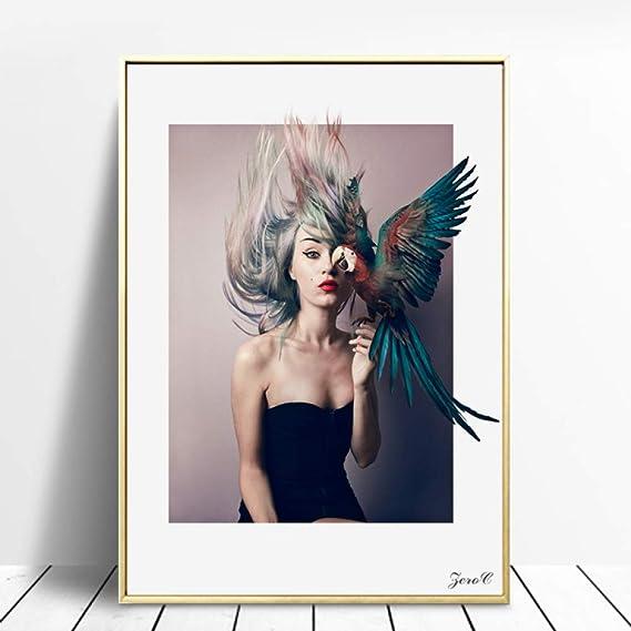 tzxdbh Nordic Girl Portrait Canvas Art Posters and Prints ...