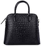 QZUnique Women's Cowhide Genuine Leather Crocodile Veined Cross Body Shoulder Handle Amphibious Shell Bag Black