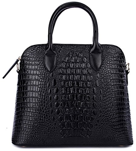 QZUnique Women's Cowhide Genuine Leather Crocodile Veined Cross Body Shoulder Handle Amphibious Shell Bag (Leather Usa Genuine Handbag)