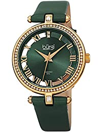 Genuine Leather Womens Watch – Swarovski Crystal Studded Bezel, 2 Diamond Markers, See Through