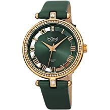 Burgi Genuine Leather Women's Watch – Swarovski Crystal Studded Bezel, 2 Diamond Markers, See Through and Sunray Dial, Green Strap - BUR228GN