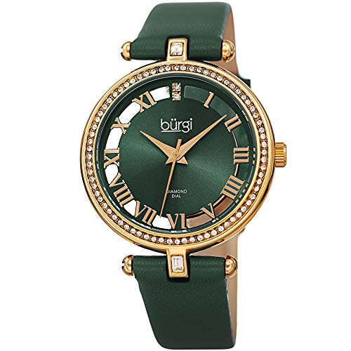 - Burgi Genuine Leather Women's Watch – Swarovski Crystal Studded Bezel, 2 Diamond Markers, See Through and Sunray Dial, Green Strap - BUR228GN