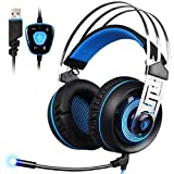 GW SADES A7 7.1 Gaming Headset, Wired USB Stereo Surround LED Lighting Noise Cancelling Headphones with Microphone and Volume Control, Compatible for PC/ Mac/Laptop/Computer(Black&Blue)
