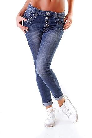 45ba8a6033a5f1 OSAB-Fashion 10847 LEXXURY Damen Jeans Röhrenjeans Hose Stretch Boyfriend  Slimfit Knopfleiste