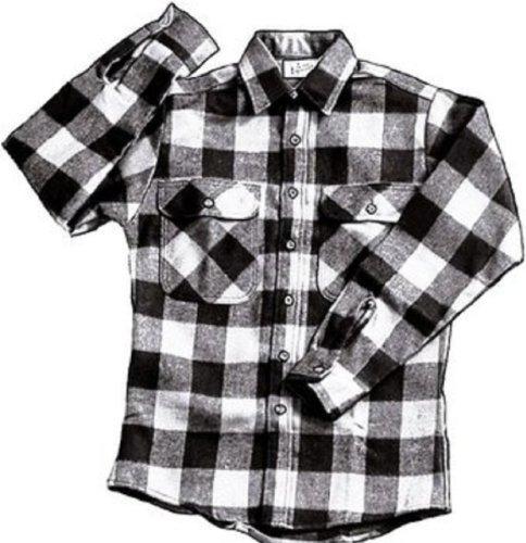 EXTRA HEAVYWEIGHT BRAWNY FLANNEL SHIRT - WHITE/BLACK XLARGE (Best Heavyweight Flannel Shirt)