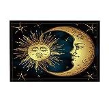 NYMB Boho Antique Decor, Golden Sun Crescent Moon and Stars Over Blue Black Sky Bath Rugs, Non-Slip Doormat Floor Entryways Indoor Front Door Mat, Kids Bath Mat, 15.7x23.6in, Bathroom Accessories
