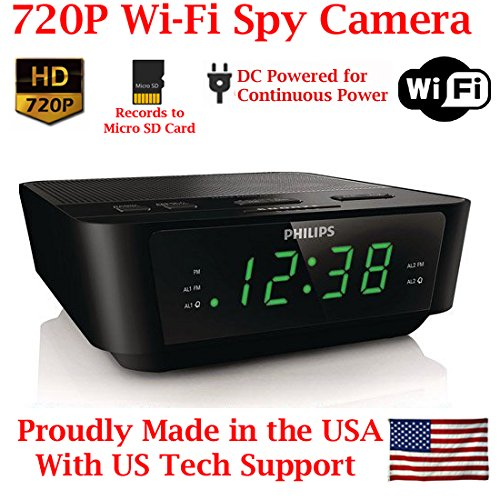 720p HD WIFI Alarm Clock Radio Spy Camera Wireless IP P2P Covert Hidden Nanny Camera Spy Gadget by AES Spy Cameras