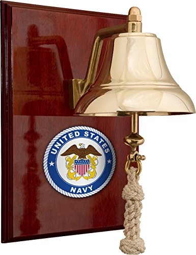 "6"" Brass Bell Mounted on 9x12"" High Gloss #NV6060/EN4006 01B Mahogany Plaque (#8 Emblem Printed in Full Color; 6 ½ x 1 ¼"" Blank Brass Plate Included, not Attached) ()"