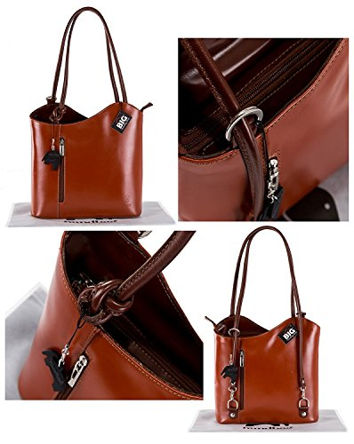 Leather Leather Italy BHBS Hand Tan Shoulder Made Smooth Real or Womens Dark Handbag Made Backpack Finish In 7wg5wqpr
